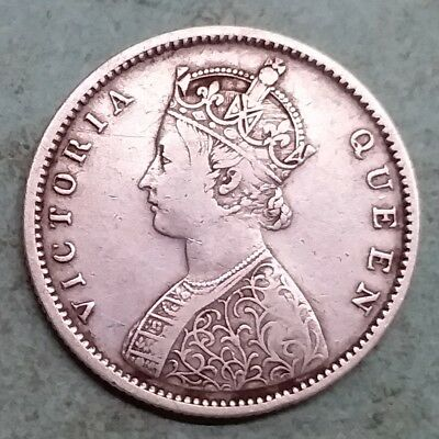 British India-Silver-Victoria Queen-Half Rupee-Year 1862-Very Rare-Wt:-5.680 Gm.