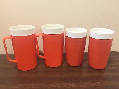 Vintage Set Of 4 Plastic Orange Olympian Therm-o-ware Cups And Tall Mugs