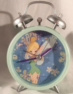 Tinkerbell 90's Early Edition Mint Green Double Bell Alarm Clock-Rare Tink Pose