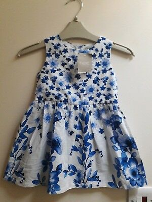 Baby girls NEXT dress 9-12 months White Blue Floral Flowers Brand New With Tag