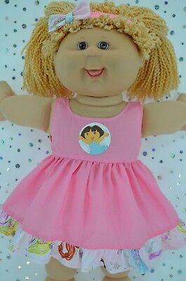 """Play n Wear Doll Clothes To Fit 16"""" Cabbage Patch PATTERN/PINK DRESS~HEADBAND"""