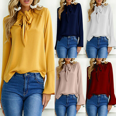 Women Bell Sleeve V Neck To Work Top Bowknot Loose Shirt Tops Blouse Wear