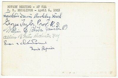 Unusual 1953 Postcard At-Sea Rotary Meeting SS EXCALIBUR Signed by Rotarians