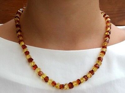 "19,9"" Real Baltic Amber Choker Necklace Cognac & Citrine Man/Woman"