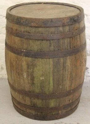 Vintage Wooden Barrel, Coopered, Early 20th Century, Metal Straps, Antique,