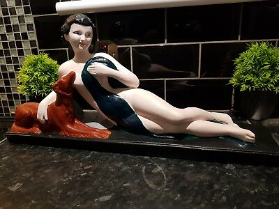 LARGE 1930s  Art deco Chalkware Lady & Dog figure, Beautiful item