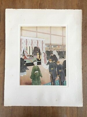 """c.1940s """"THE EMPEROR RECEIVES FOREIGN MINISTERS"""" HIROSHIMA KÔHO PAINTING PRINT"""
