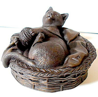 Cold Cast BRONZE Figurine/Sculpture 0f Cat in Basket With Ball of Wool (mm)