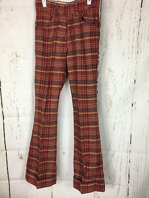 Vtg. Toughskins Plaid Bell Bottom Pants Brady Bunch 60's 12S