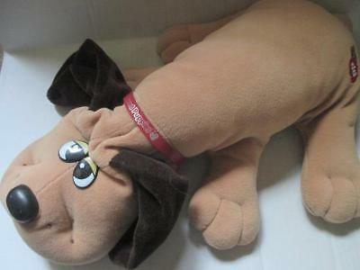 """Vintage Tonka Pound Puppies 19"""" Tan & Brown  Dog Red Leather Collar 1985"""