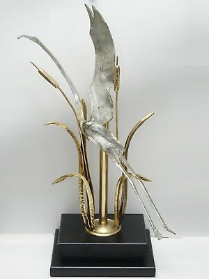 70's MODERNIST ITALIAN GALEOTTI BRONZE & SILVERED HERON & CATTAILS SCULPTURE 28""