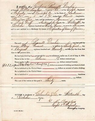 1870,Captain George M. Brayton, 8th Infantry, signed soldiers discharge