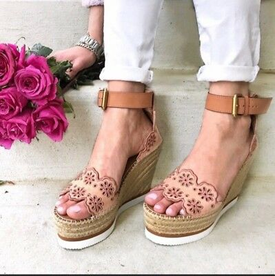 52d820beab2 SEE BY CHLOE Glyn Canvas Leather Espadrille Wedge Sandals Heels ...