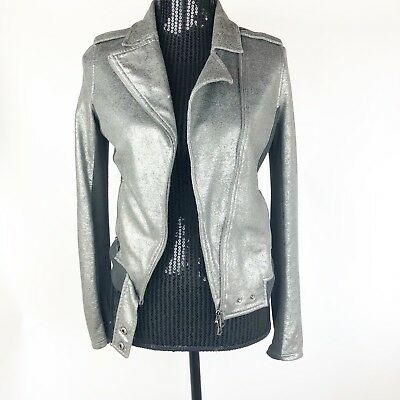 AX Armani Exchange Women's Moto Biker Jacket Sz Small Silver Gray Knit Jacket