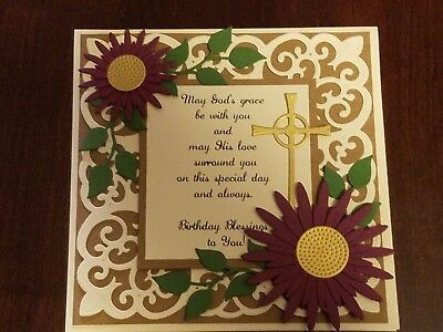 Card Kit Birthday Blessings Cross Bible Religious Faith 5 Handmade Cards