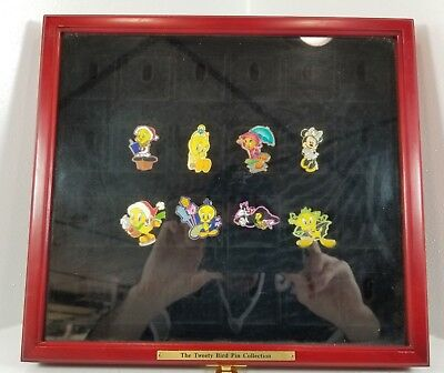 7 Tweetie Bird Pins and 1 Mini Mouse Pin With Red Pin Display Case