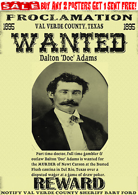 Old West Wanted Poster Outlaw Western Ok Ringo Doc Reward Gunfighter