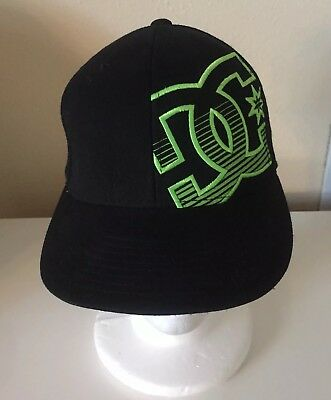 3116e12e DC Shoes 210 Fitted FlexFit Hat Black Neon Green Men's Stretch Cap 6 7/8