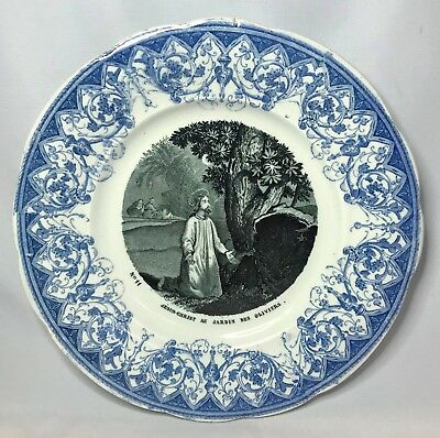 Creil Montereau Jesus in the Garden Antique Catholic Christian Plate France