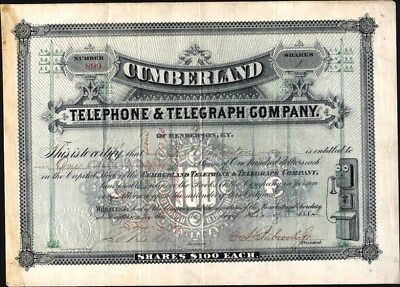 Cumberland Telephone & Telegraph Co, Henderson, Ky., 1884, Issued Stock Cft.