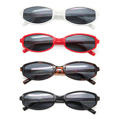 Trendy Retro Fashion Sunglasses Plastic Skinny Frames Black Lens Women Shades