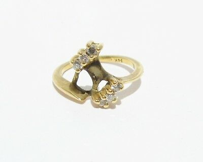 Diamond 14k Yellow Gold Ring Size 5.5 Upcycle Scrap .18 Cts Stones 2.70g