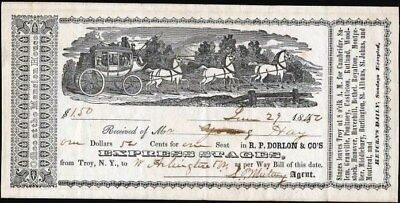 Express Stage Coach Ticket, 1852, Illustrated Ticket, Signed By Agent (Rare)