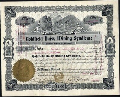 Goldfield Daisy Mining Syndicate, Nevada, 1907 Issued Stock Certificate