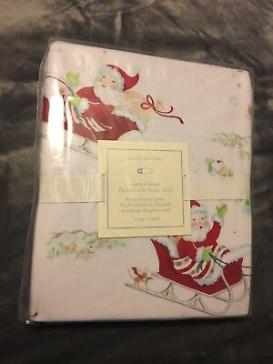NWT Pottery Barn Kids Santa's Sleigh Flannel Crib Fitted Sheet