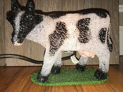 Plastic Popcorn BLACK/WHITE FARM COW Lamp / Night Light