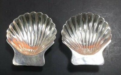 2 Mexico 925 Sterling Silver Seashell Scallop Clam Shell Footed Ashtray Dish A