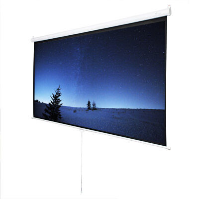 """100""""16:9 87"""" x 49"""" 300D Viewing Area Manual Projector Screen with Hook Set"""