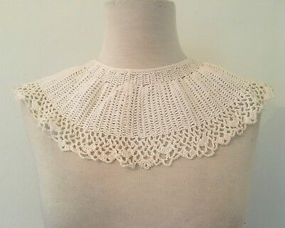 Vintage Crochet Bib Collar | White Crochet Collar | Knit Collar Accessory