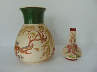 Two Antique Hand Painted Vases W Mat Finish Royal Rudolstadt