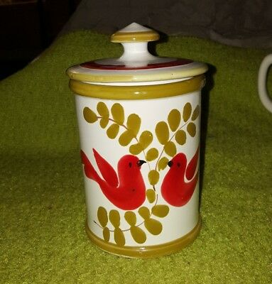 Vintage Italian Hand Painted Pottery Canisters Love Birds Red Green So Pretty