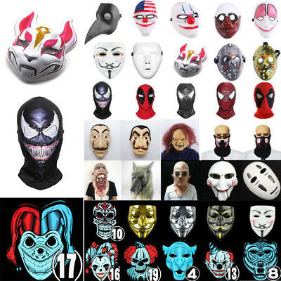 Halloween Cosplay Party Scary Mask Helmet LED Light Up Mask Costume Props Unisex