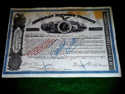Wells & Fargo Signed 1866 American Express Company Stock Certificate