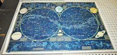 National Geographic Map Of The Heavens w/Monthly Star Charts 1970 Foldout Poster