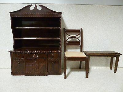 """Vintage Renwal Dining Room China Hutch, Chair And Stool - 3/4"""" Scale"""