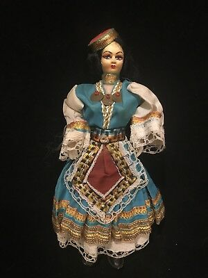 Vintage Greek Souvenir Doll with Hand-Painted Stockinette Cloth Face