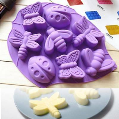 8 Cavities Butterfly Bug Bee Dragonfly Insect Silicone Cake Mold Pan Kitchen