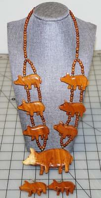 Vintage Hand Made Hand Carved Wooden Pig Necklace W/ Matching Earings