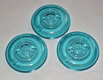 Glass Dome Lids for Wire Bale Canning Jars BALL Mason BLUE Set of 3