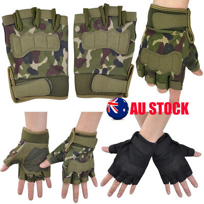 Mens Tactical Gloves Fingerless Athletic Military Army Climbing Work Half Finger