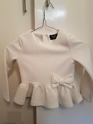 BARDOT JNR girls Size 4 White Peplum Jacket With Bow In VG Con