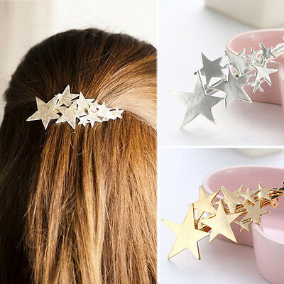 Women's Fashion Gold Silver Star Hair Clip Barrette Hairpin Bobby Pin Jewelry