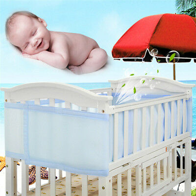 Blue Pink Breathable Infant Baby Bed Mesh Cot Bumper Crib Liner Protection Pad