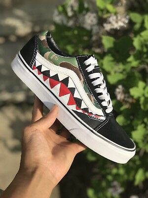 2af78a72d1044e CUSTOM BAPE SHARK Teeth Vans Old Skools -  115.00
