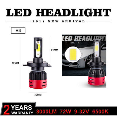 H4/9003 8000LM 4300K Car COB LED Conversion Car Headlight Bulb Hi/Lo Beam White