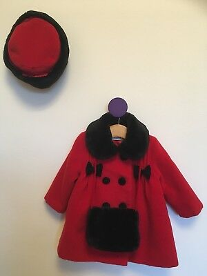 NEW Baby Girl Jingles Red Coat, Hat And Muff 6 Months Christmas Set RRP £50